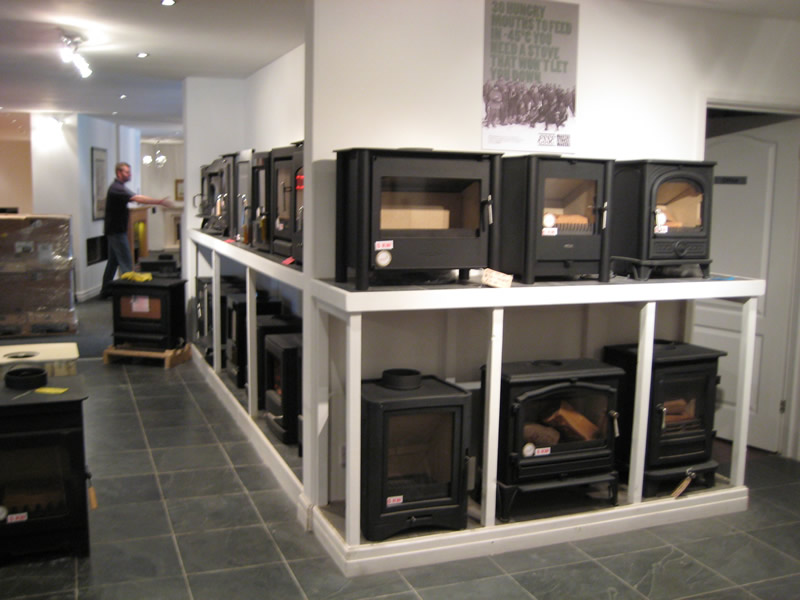 Wood Burning Gas Fires in Showroom