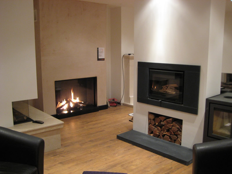 Modern Fireplaces in Showroom