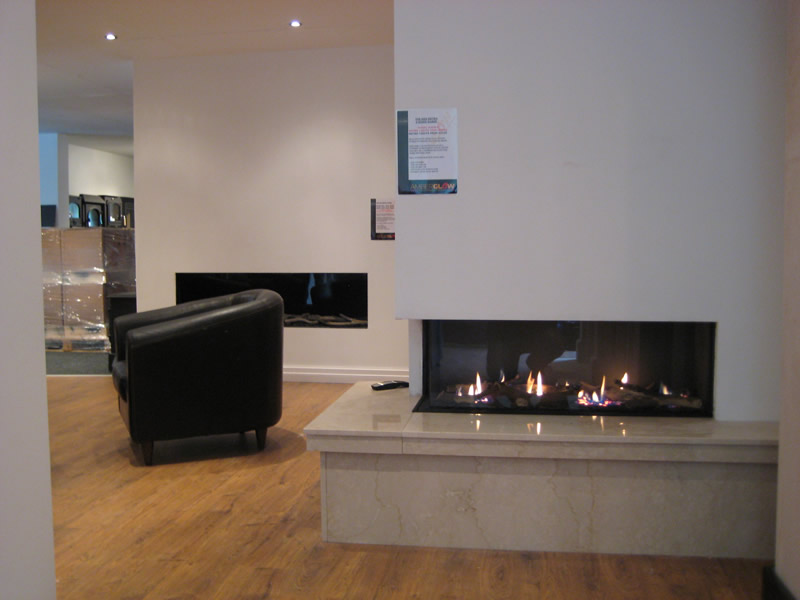 Electric Fire in the Wall in Showroom