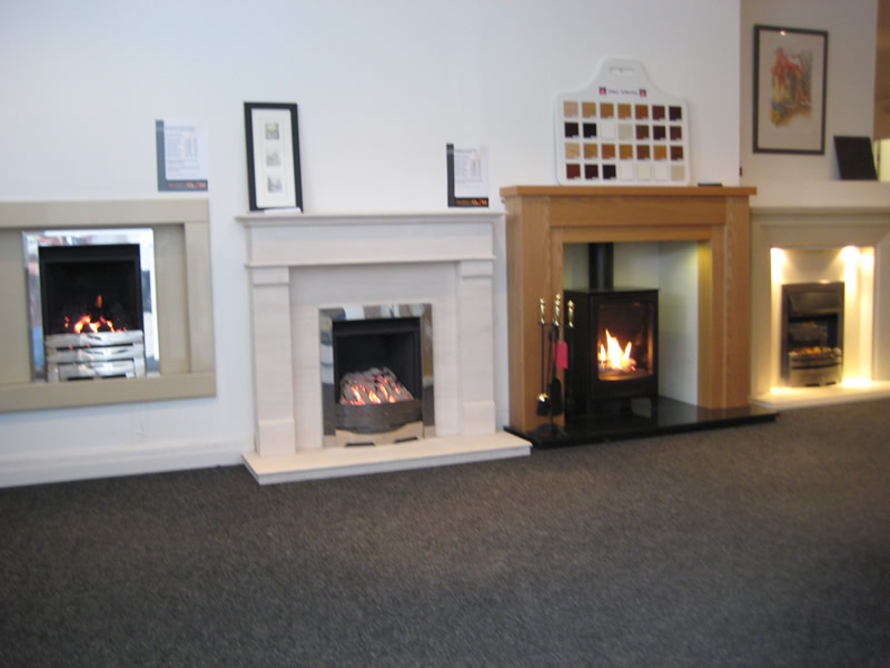 Selection of Fireplaces in Showroom