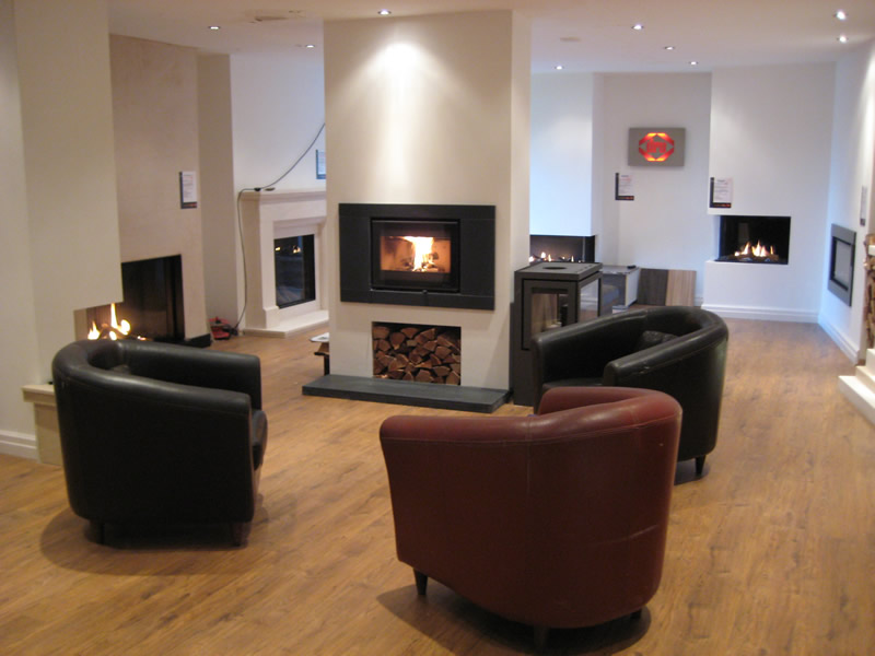 Chairs & Fireplaces in Showroom