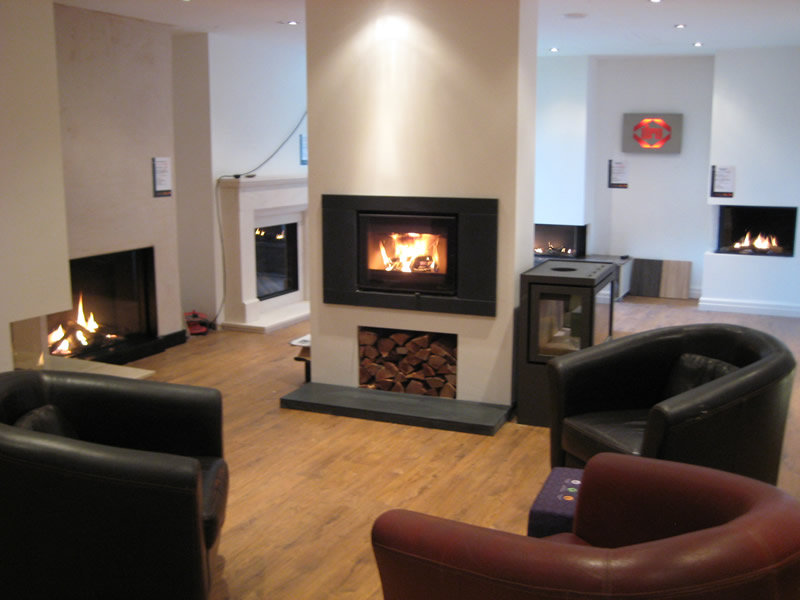 Fireplace and Chairs in Wirral Showroom