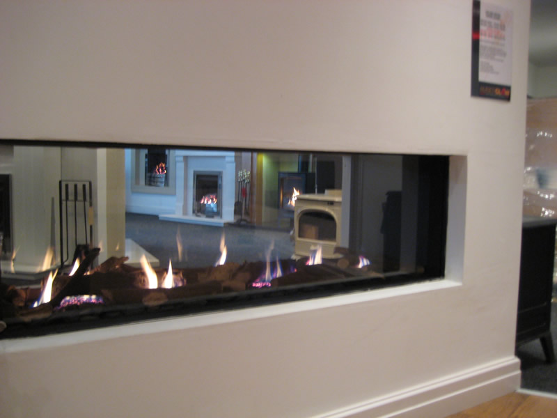 Hole in The Wall Fireplace in Showroom
