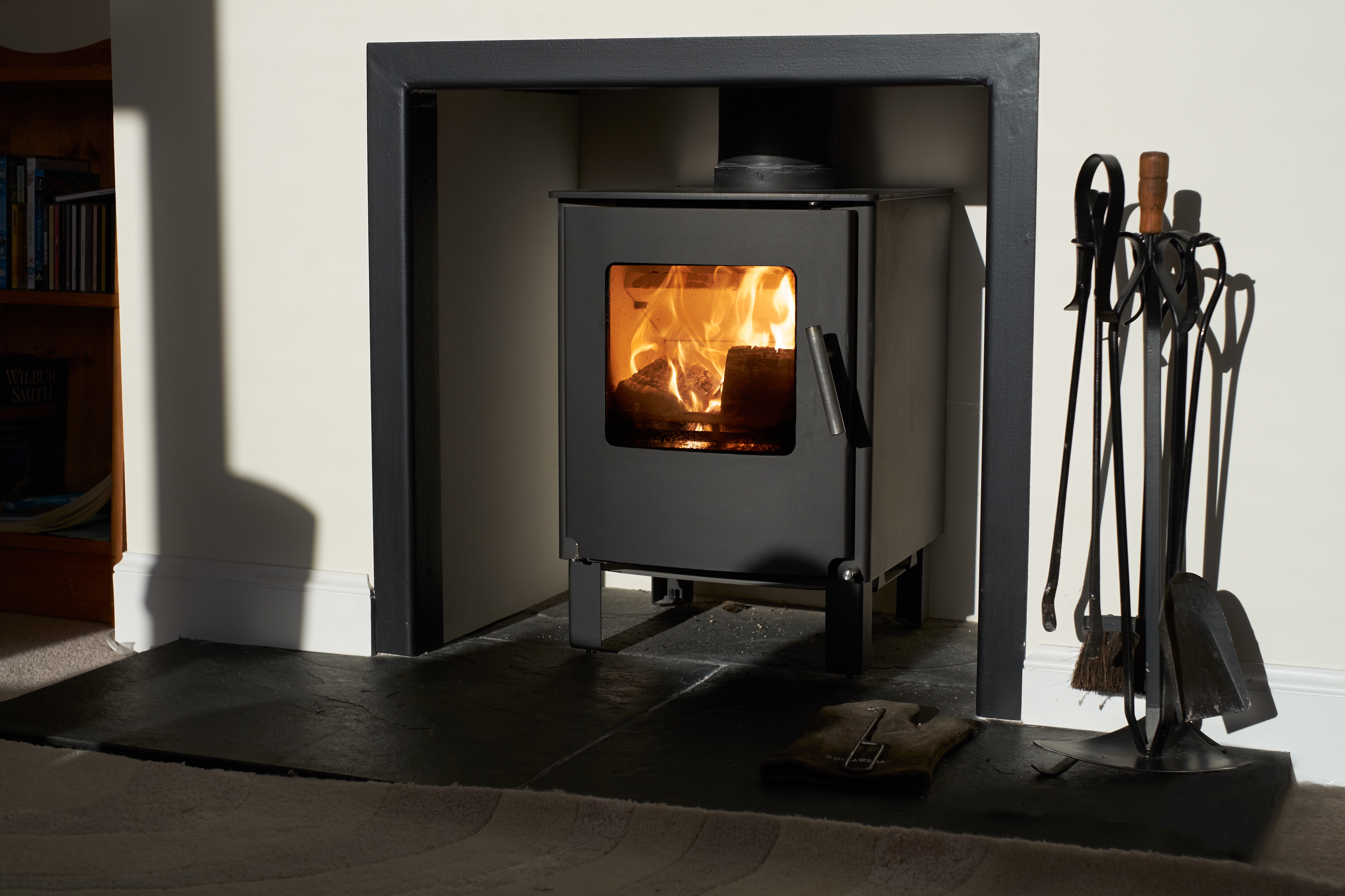 Wood burning stove, traditional heating system. Zero carbon footprint